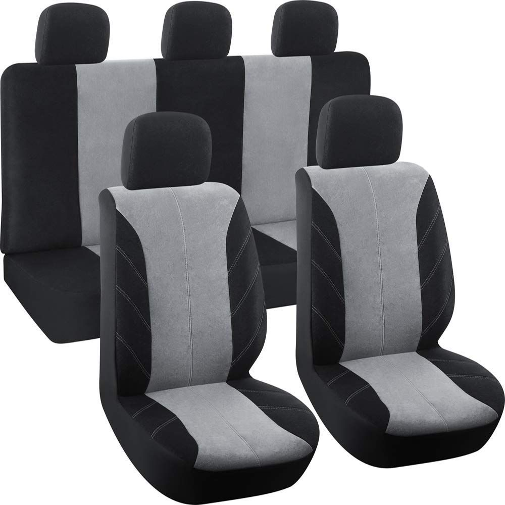 BDK SC1902 Gray Universal Fit 4-Piece Regal Fabric High Back Bucket Deluxe Front Car Seat Covers Grey