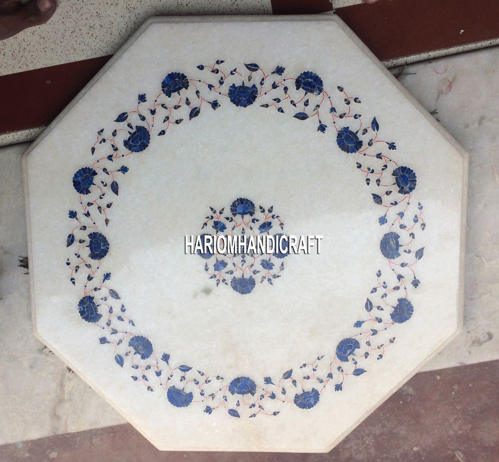 12 Lapis Floral Mosaic Stone Marble Coffee Table Top Inlay