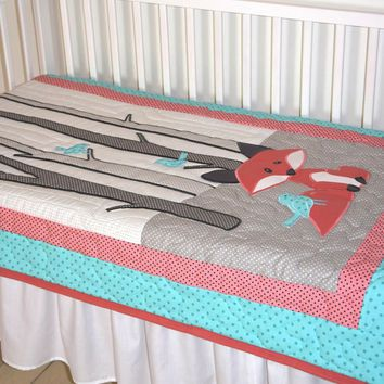Fox Blanket Baby Boy Or Girl Crib Bedding Personalized Nursery Quilt