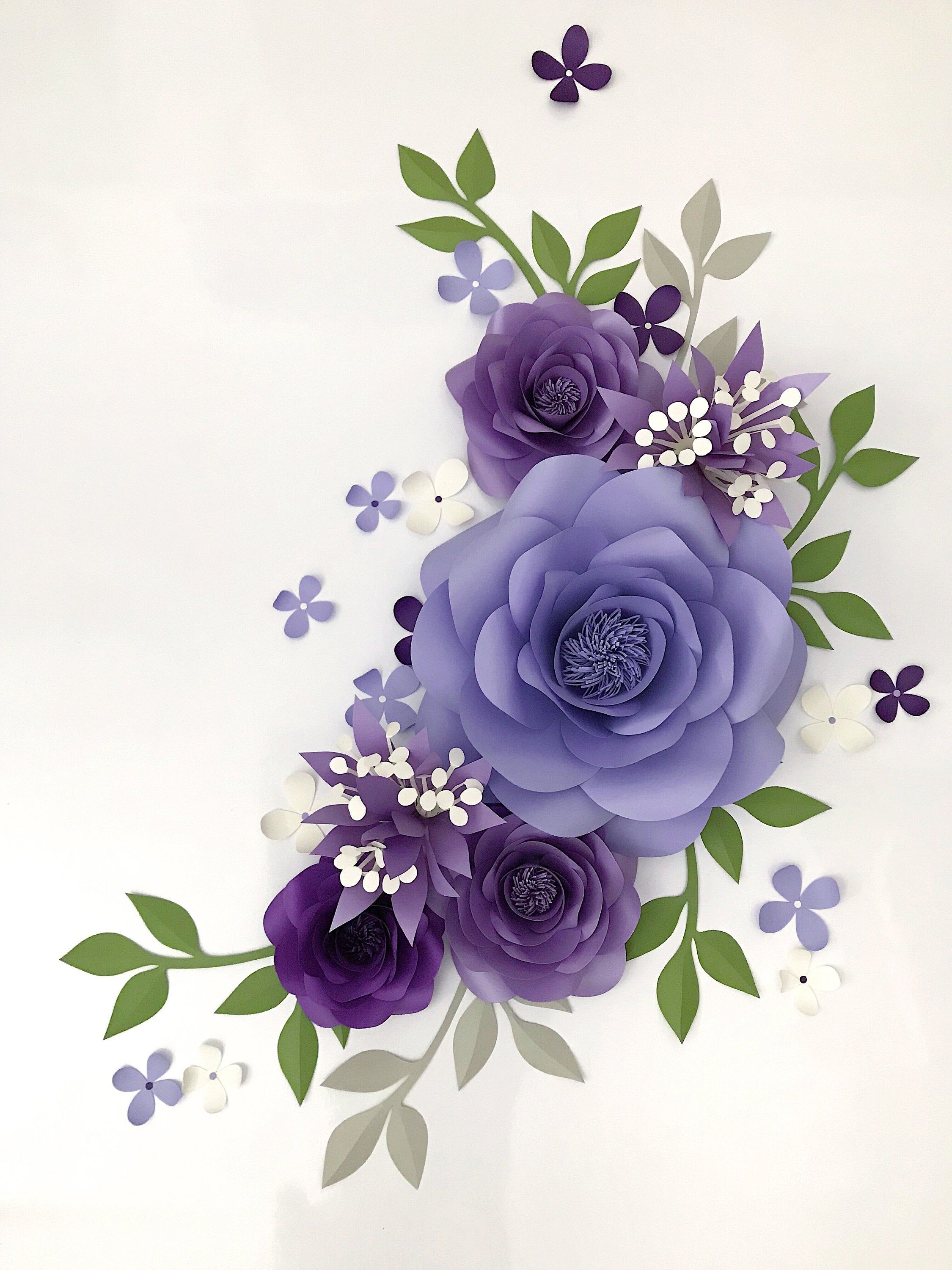 Paper Flower Arrangement over the Crib - Purple Paper Flowers - Lavender Nursery Wall Decor - Nursery Paper Flower Wall Decor (code:#175) #paperflowerswedding