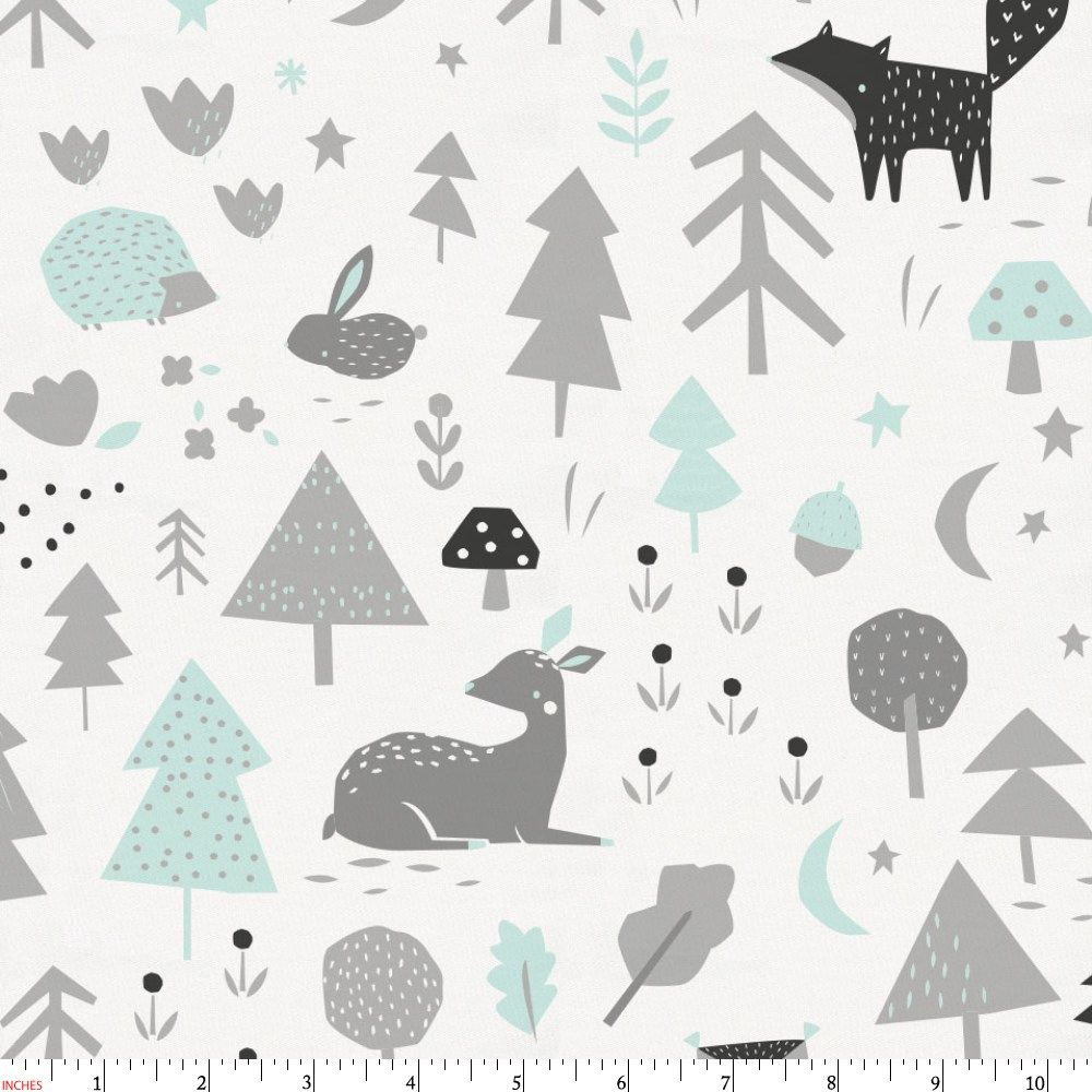 Icy Mint And Silver Gray Baby Woodland Fabric By The Yard