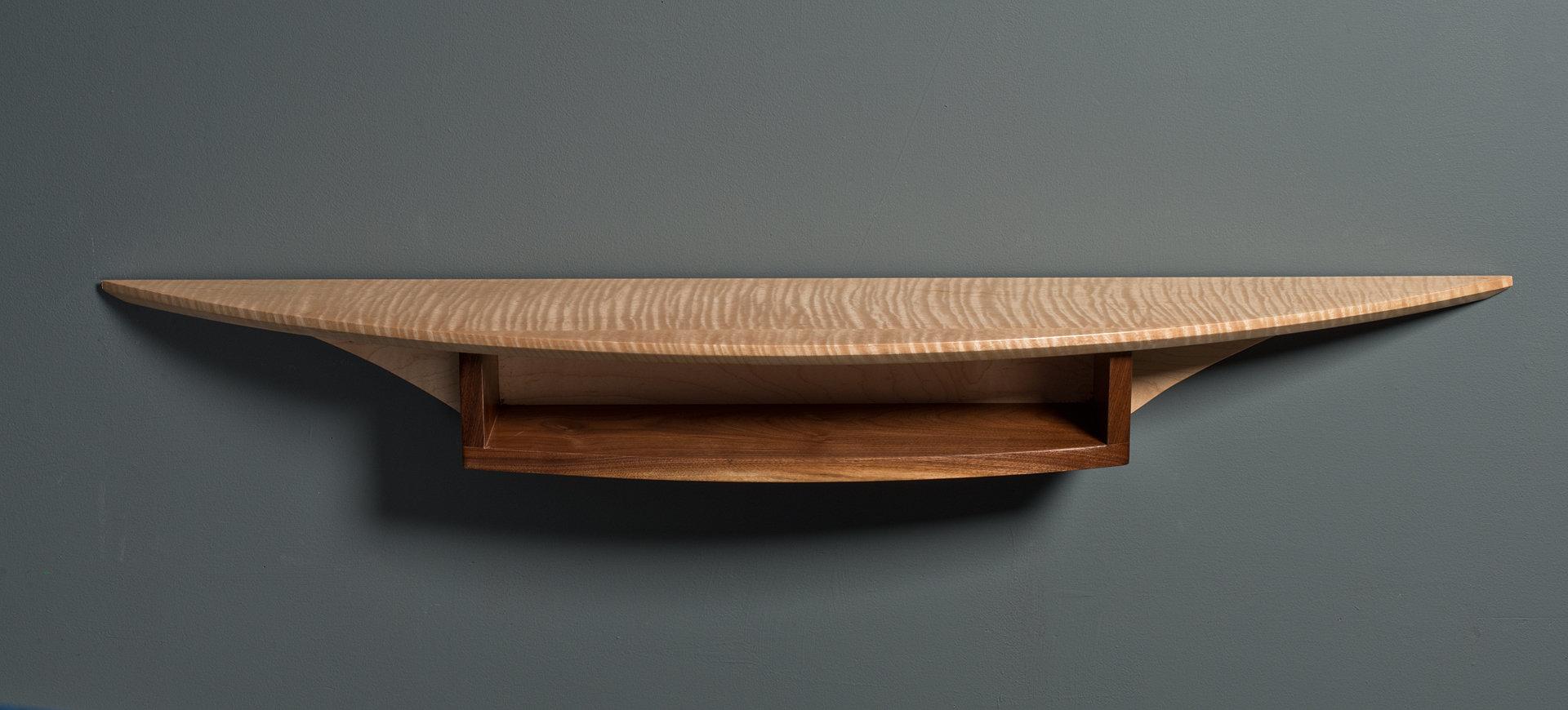 299655f677b6 Demi Lune Wall Shelf by David Kellum. Tiger maple wall shelf with storage  compartment. Hand-applied varnish blend.