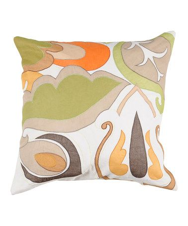 Take a look at this Wasabi & Pumpkin Abstract Garden Pillow by Surya on #zulily today!