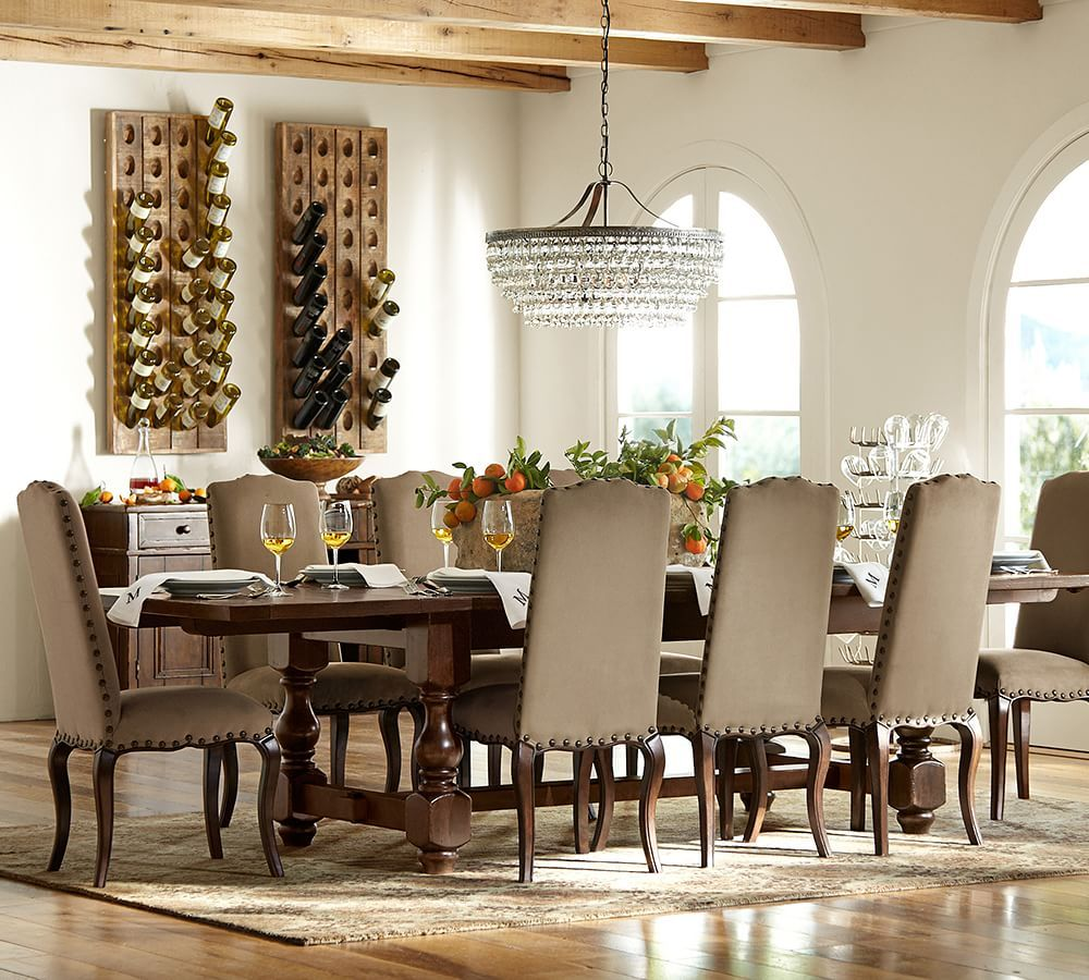 Traditional Dining Room with Chandelier Exposed beam