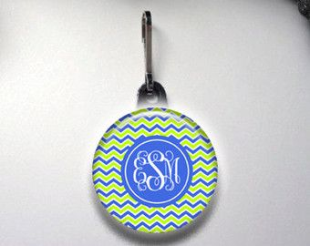 Personalized Zipper Pull, Monogram Zipper Pull, Personalized Zipper Charm, Personalized Gift, Monogram Gifts, Back Pack Accessories
