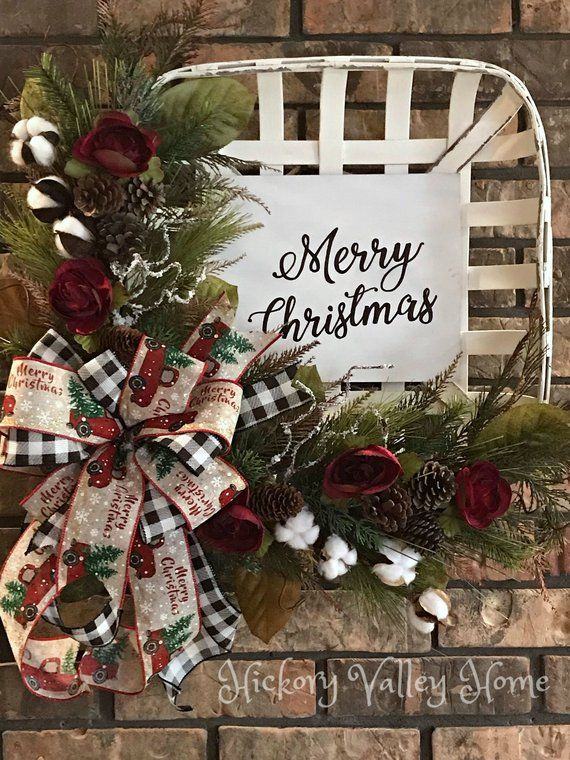 Christmas Wreath Tobacco Basket Arrangement Rustic