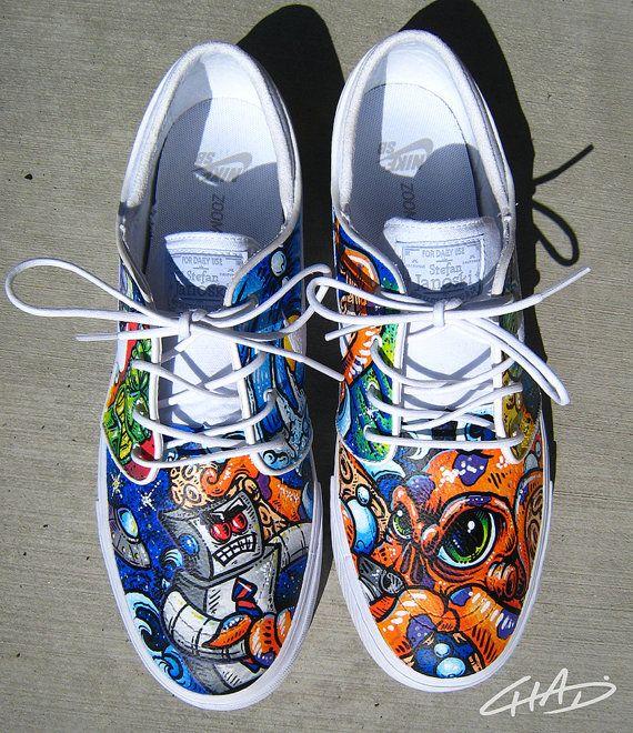 e973f14dc5 Full CUSTOM NIKE SB Janoski Shoes by ArtOfTheSole on Etsy