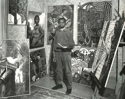 Artist Uzo Egonu in his London studio, 1964