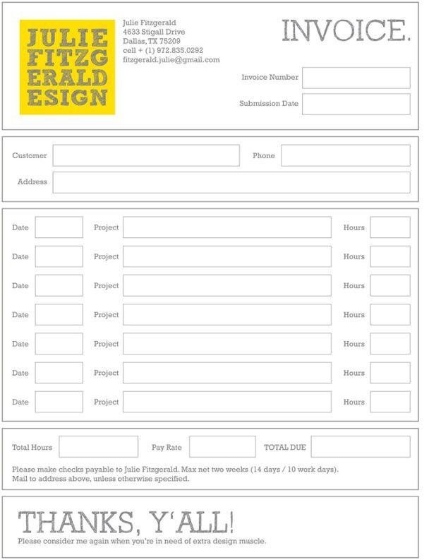 invoice 24 design crush Pinterest - invoice printable