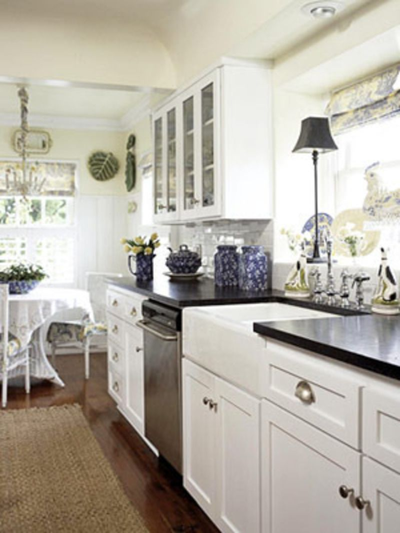 White with dark counter kitchen pinterest galley for Galley kitchen sink