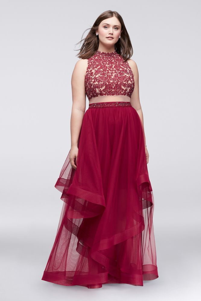 077bb1b603a Embroidered Halter Faux Two-Piece Dress - Wine (Red)