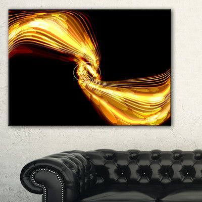 DesignArt 'Glowing Golden Lines and Circles' Graphic Art on Wrapped Canvas Size:
