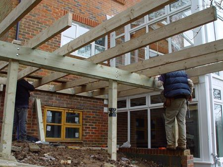 how to build raised decking frame