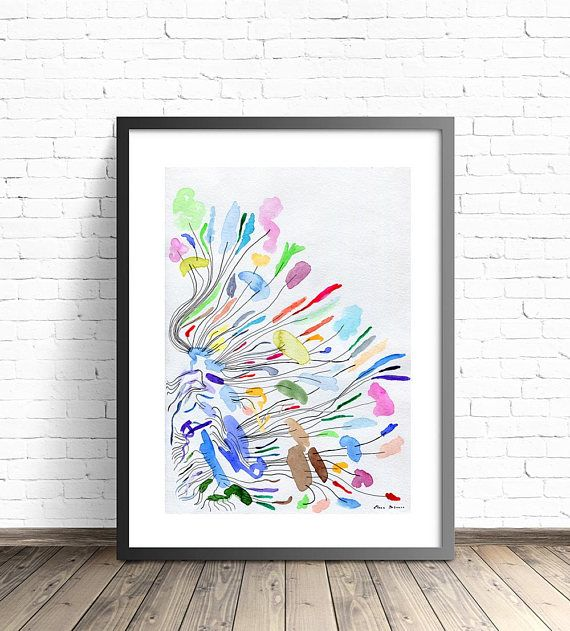 8X10 Resume Paper Simple Abstract Watercolour Painting Giclée* Print Paper .