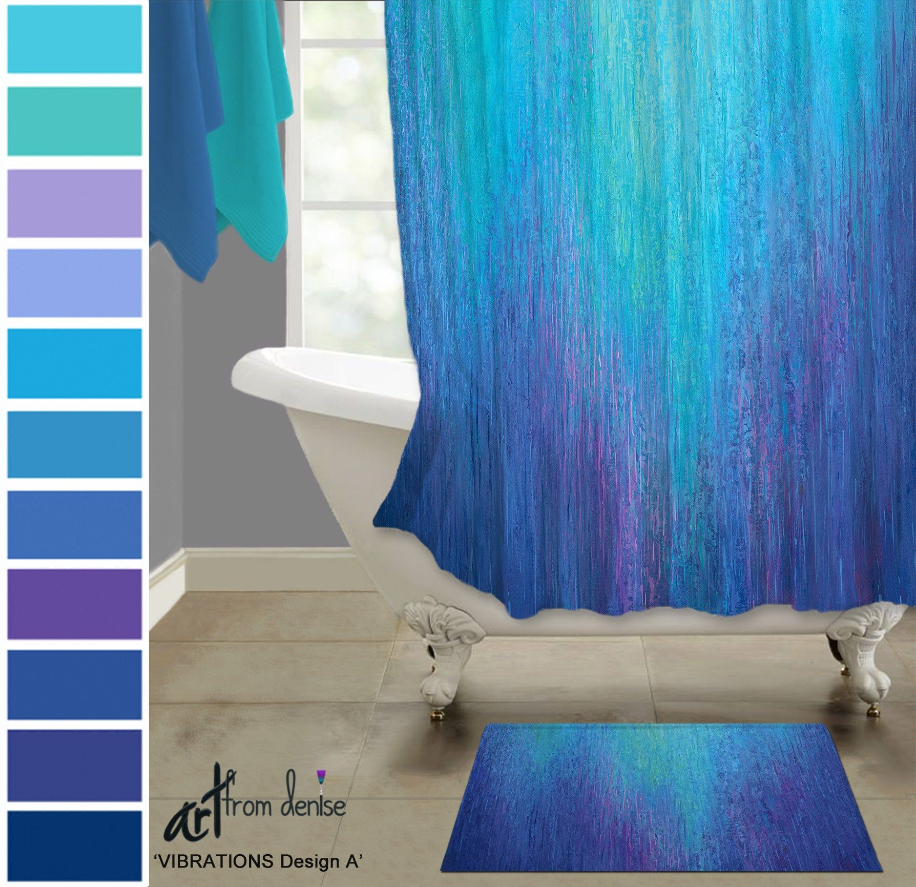 Purple And Blue Shower Curtain And Bath Mat Sets Cobalt Pink Aqua Master Bathroom Decor Waterproof Fabric Shower Curtain And Rug Set In 2020 Colorful Shower Curtain Blue Shower Curtains