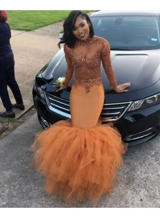 Sexy Dark Orange Prom Dresses | Sheer Appliques Long Sleeves Evening Gowns