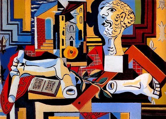 1925 Picasso Tête et bras de plâtre, Plaster head and arm Huile sur Toile 98,1x131,2 cm. #Cubismo #Art #XXs