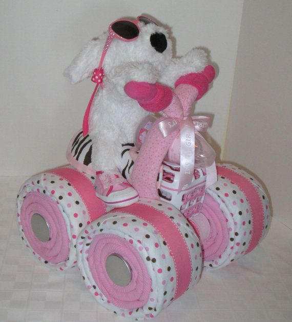 diaper cake, wheeler, quad motorcycle baby shower,girl baby gift, Baby shower invitation