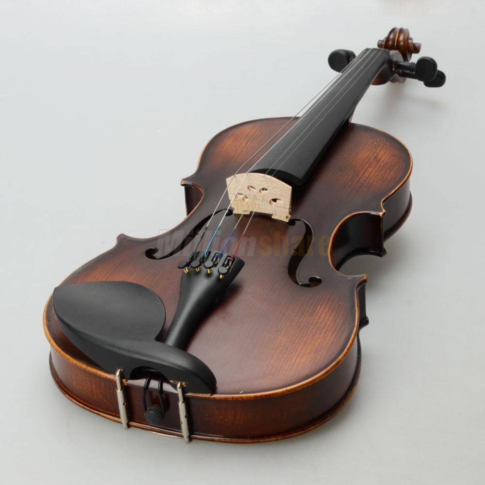 4//4 Classic Solid Wood adult Retro Acoustic Violin+Case+Bow+Rosin+Tuner