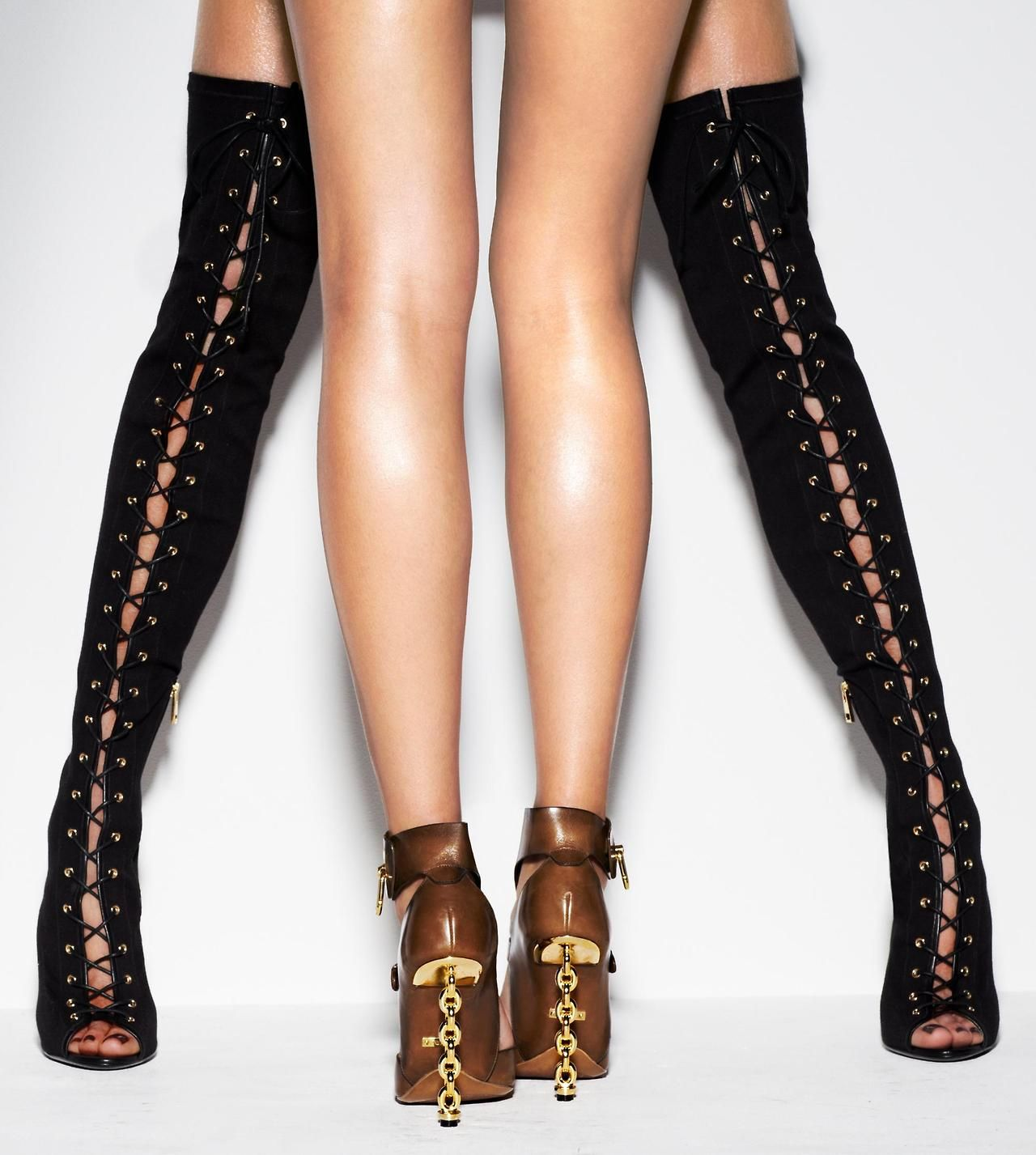 290b891692 Tom Ford Black Lace-Up Thigh High Boots & Brown Leather Gladiator Sandals  with Chain Heels Spring 2014 #Shoes #Heels