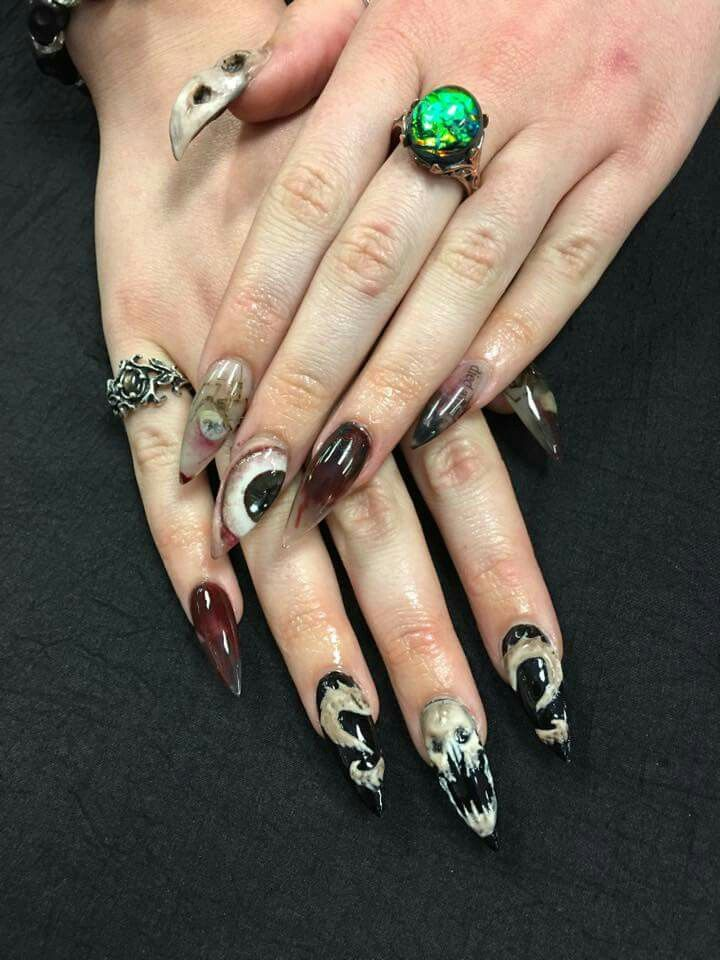Creepy Halloween acrylic nails by The Red Room Salon in ...