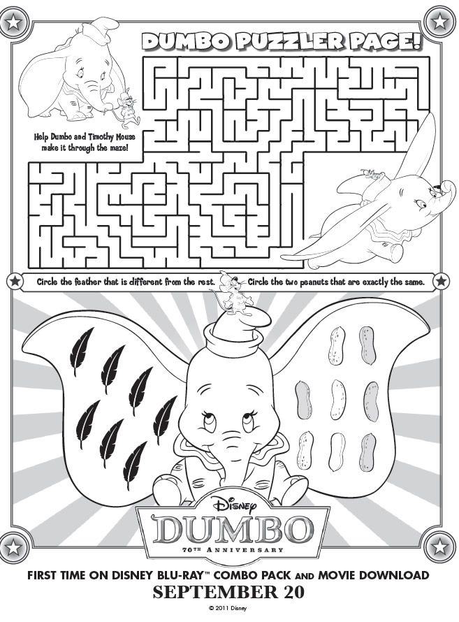 Printable Dumbo Maze Printables for Kids free word search
