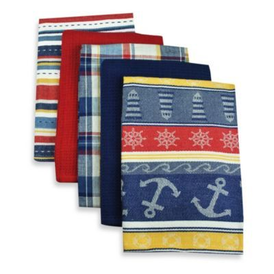 Buy 5 Piece Oversized Woven Kitchen Towel Set In Nautical From Bed