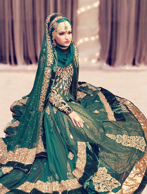 South Asian Bride Wearing The Head Scarf Hijabi Green Bridal Lengha