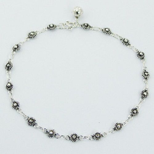 Anklet sterling silver charms fancy flower design antique look length 250mm NEW