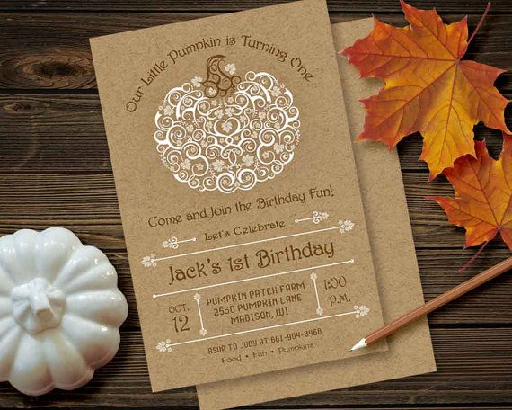 Rustic Pumpkin Invitation Birthday Party By PaperSunStudio On Etsy