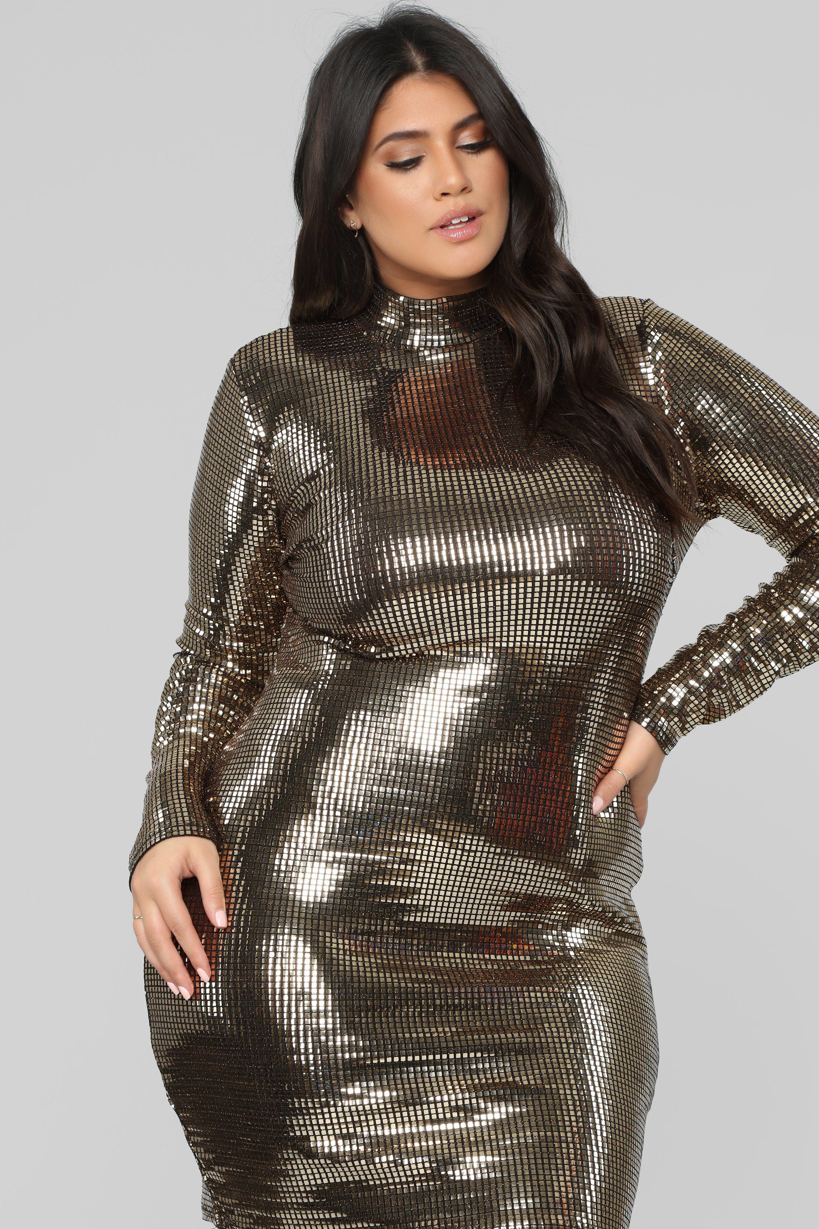 The Glow Up Metallic Dress Gold Gold dress, Metallic