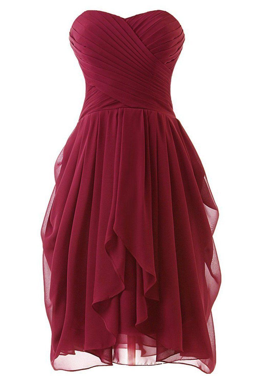 Fashion Dresses Accessories: Prom Queen Women's Short Strapless Chiffon Prom Bridesmaid