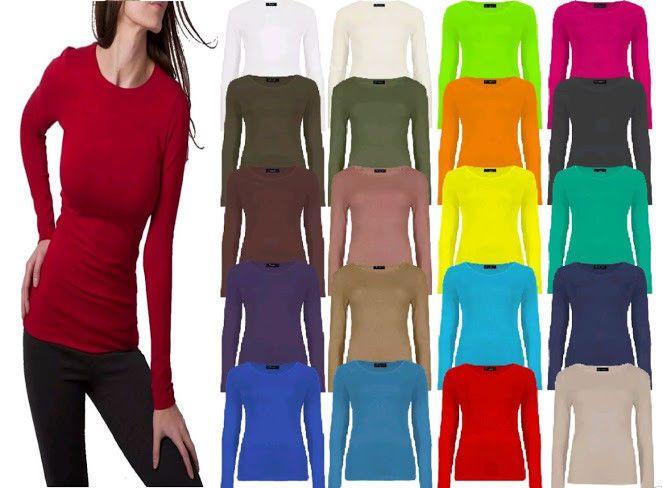 Women Ladies Plain Basic Long Sleeve Round Neck Stretch UK Plus Size T Shirt Top