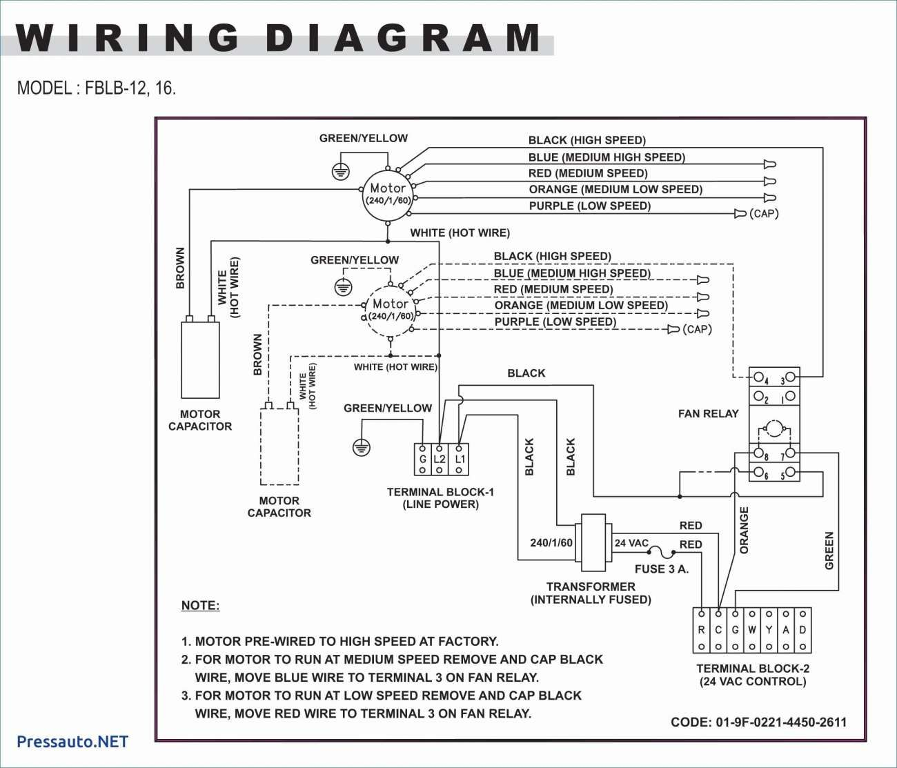 220V Electric Fan Wiring Diagram / Squirrel Cage Blower