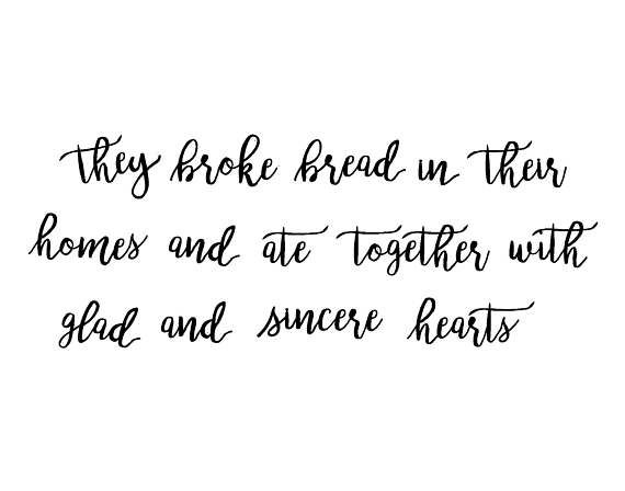 They Broke Bread In Their Homes Scripture Wall Art Metal Dining Room