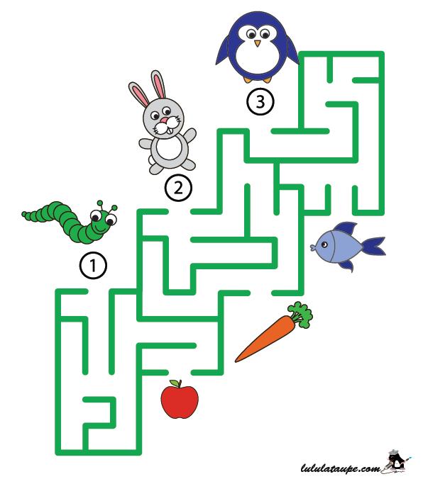 Jeu de labyrinthe à imprimer, les animaux et leur repas