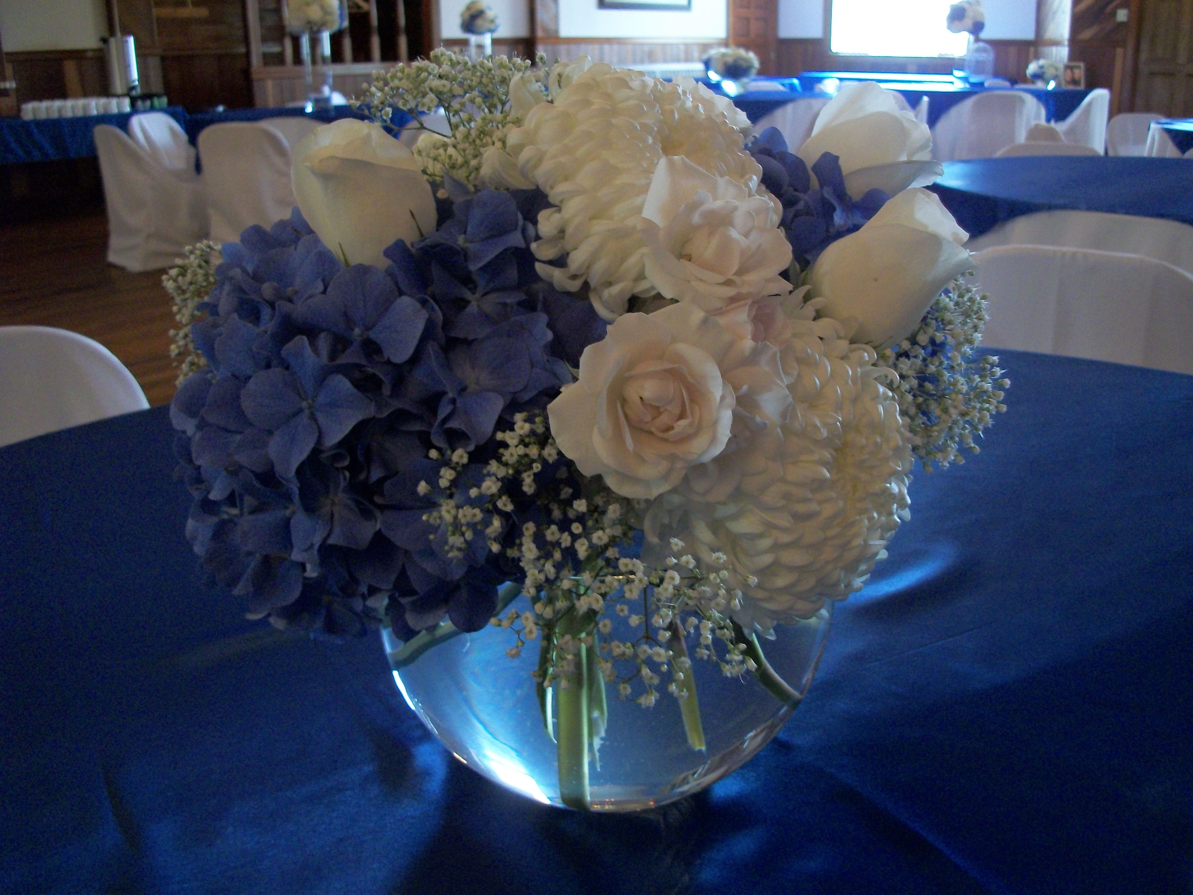 Blue and white bubble bowl centerpiece country living
