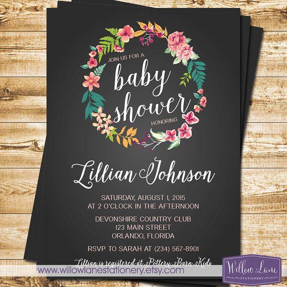 tropical baby shower invitation chalkboard island flowers hawaiian, Baby shower invitations