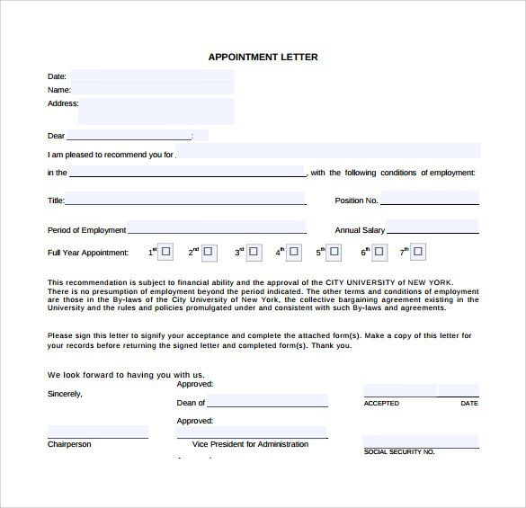 sample appointment letter download free documents pdf word format - sample letter of appointment