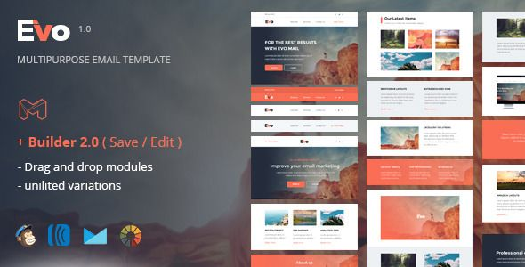 Evo  Responsive Email Template  Online Builder  Campaign