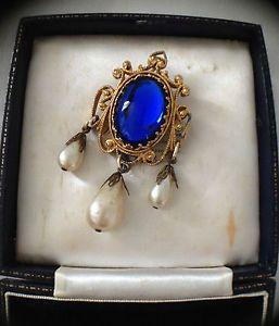 Vintage Baroque Style Brooch Huge Blue Cabochon Faux Pearl Dangly Brooch | eBay