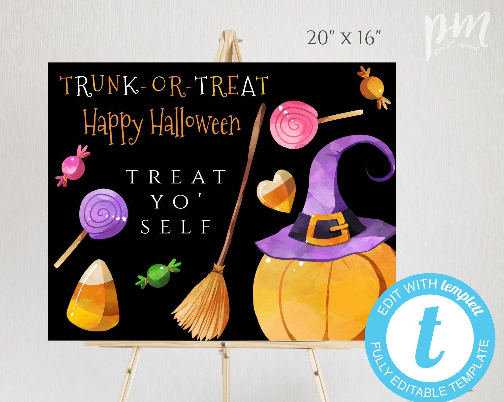 Editable Trunk or Treat Sign Template Printable Halloween
