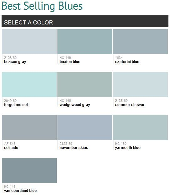 Best Blue Grey Paint Color best selling blues (benjamin moore) can i use them all? i love