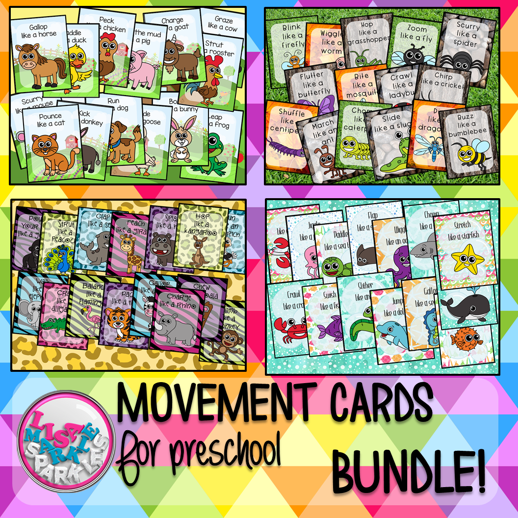Farm Bug Ocean Zoo Animals Movement Cards For Preschool