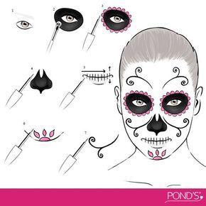 make up halloween d a de muertos maquillaje makeup in. Black Bedroom Furniture Sets. Home Design Ideas