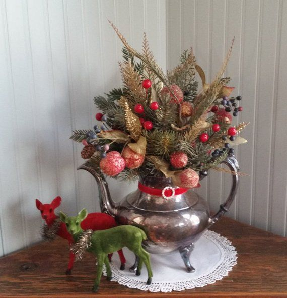 CHRISTMAS CENTERPIECE Arrangement in a Silver Teapot 14 Evergreens Spruce Cedar Berries Red Gold Blue Rustic Chic Table Decor #couronnedenoelfaitmain