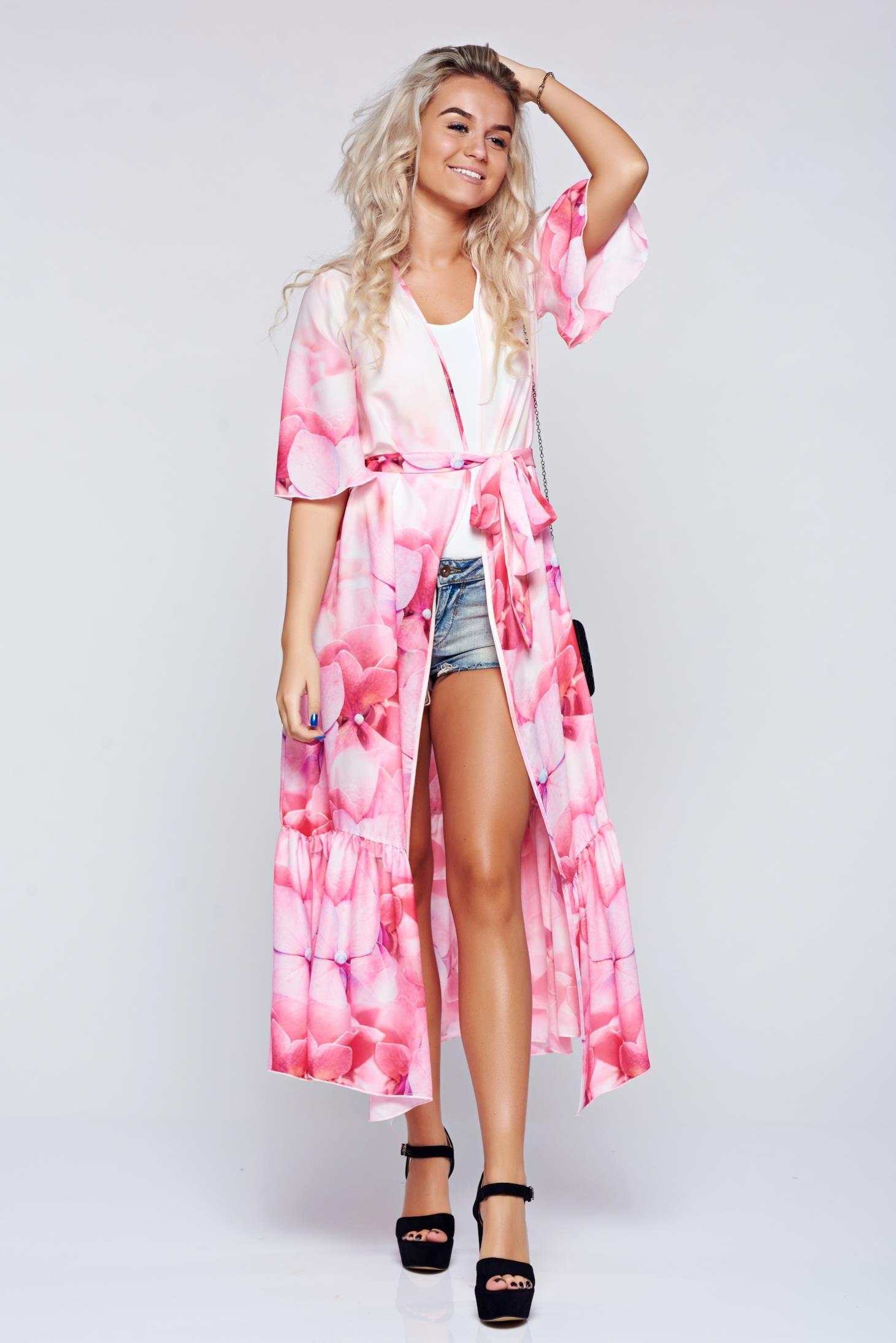 Comanda online, Rochie tip kimono Festival Look by PrettyGirl rosa cu croi larg din material vaporos. Articole masurate, calitate garantata!