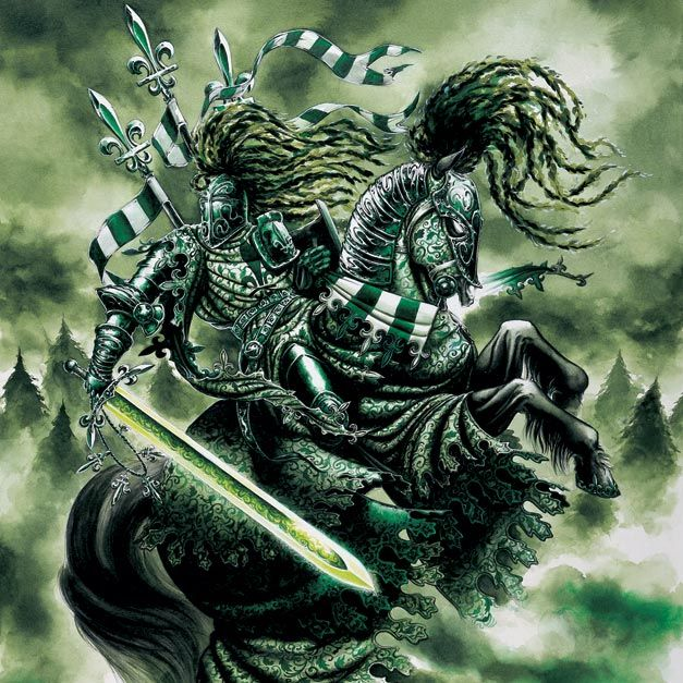 the green knight The first meeting of the green knight by sir gawain is short lived when gawain cuts off his head only to have the green knight pick it up and tell him they will meet again at an appointed time.