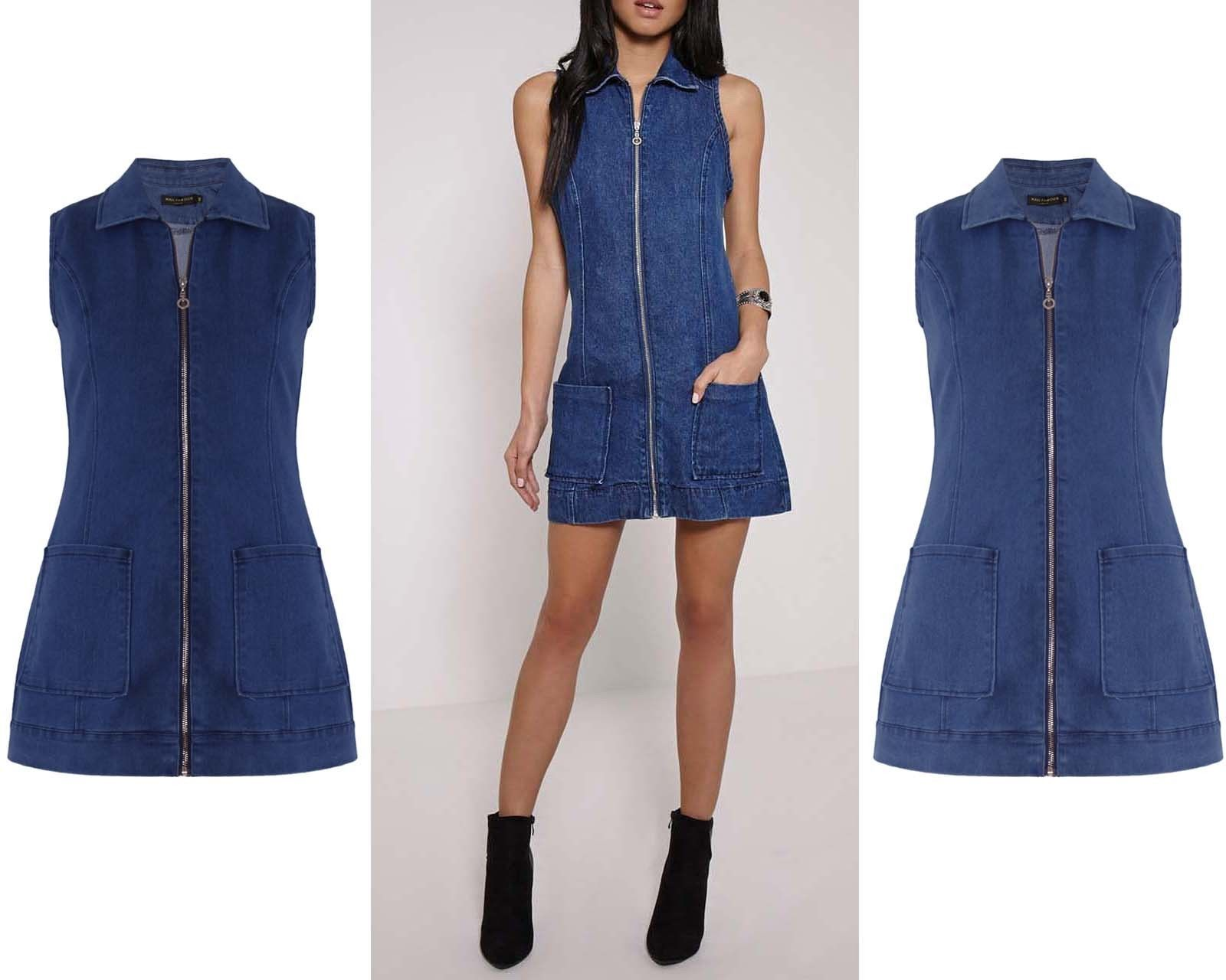 00833ab65d1 Women Denim Sleeveless Front Zip Pockets Shirt Collar Mini Short Dress 8-16