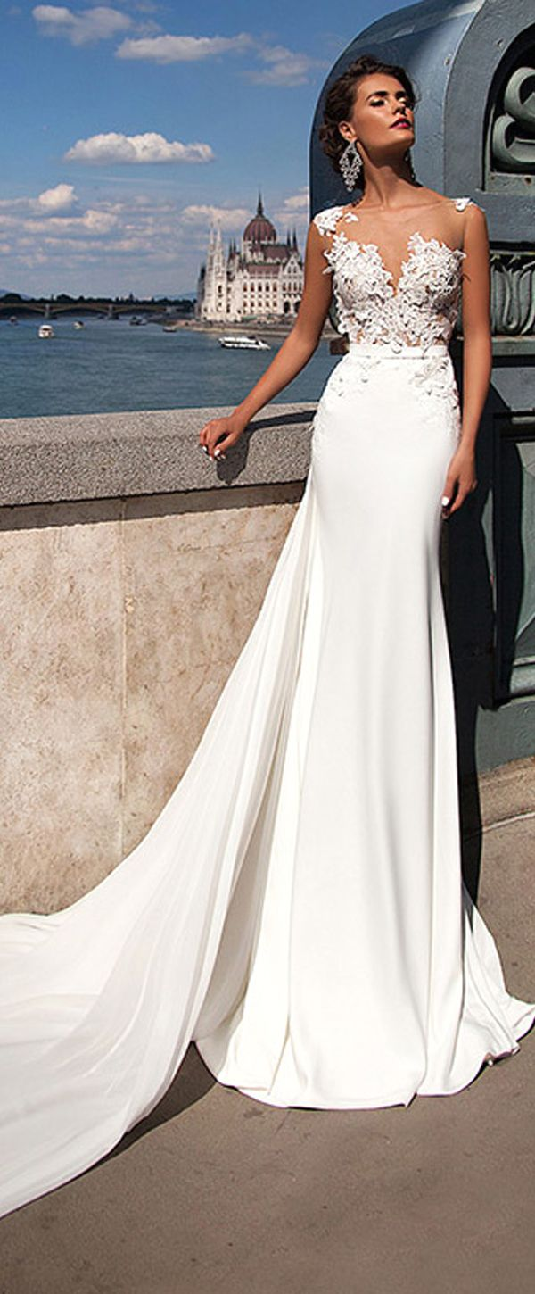 Beach wedding dresses mermaid style  Chic Tulle u Chiffon Jewel Neckline Mermaid Wedding Dresses With